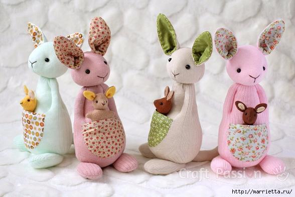 КЕНГУРУ с кенгуренком - изумительные игрушки из носков и фетра (40) (588x392, 176Kb)