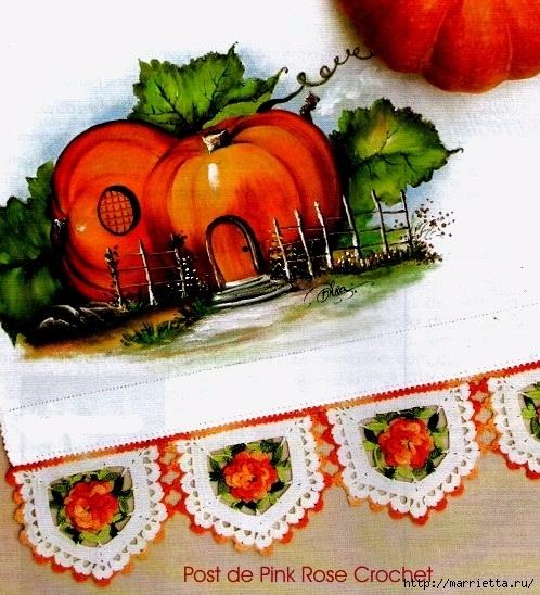 Кружевная цветочная обвязка полотенца (2) (498x548, 259Kb)