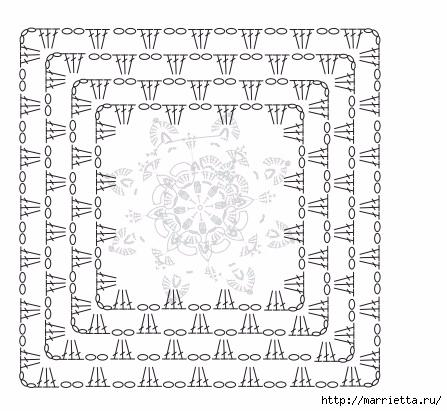 Коврик крючком из меланжевой и пряжи «травка» (2) (447x411, 136Kb)