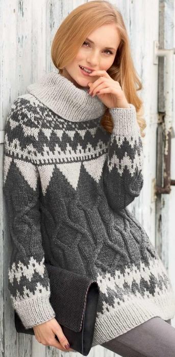 Свитер с жаккардовым и рельефным узорами, пуловер спицами описание схема, вязаный пуловер спицами, схема вязания пуловера спицами, женский пуловер вяжем, пуловер с жаккардовым узором спицами, женский пуловер, жаккард, пуловер серой пряжи схема, пуловер женский пуловер поперек, вязание спицами для женщин с описанием, сайт о вязании, интернет магазин пряжи, купить пряжу из кашемира, www.SHPULYA.com/5557795_1749_1 (343x700, 189Kb)