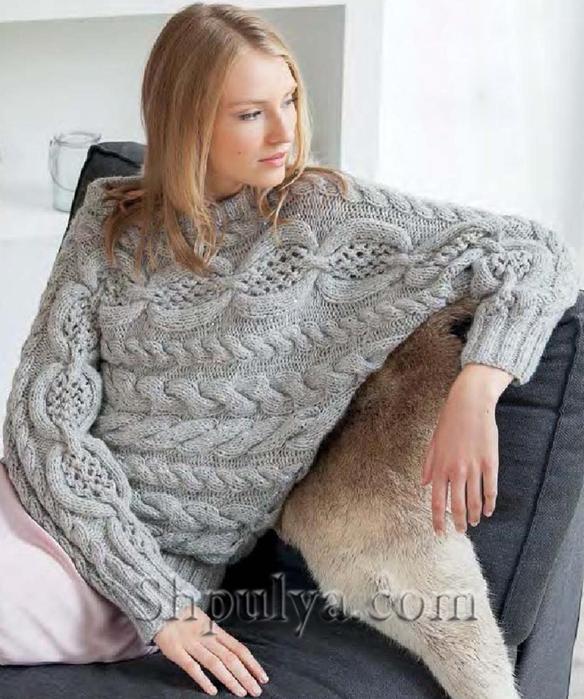 Пуловер-кимоно с ажурным узором и косами, пуловер спицами описание схема, вязаный пуловер спицами, схема вязания пуловера спицами, женский пуловер вяжем, пуловер с косами спицами, свободный пуловер, пуловер оверсаиз, пуловер из толстой пряжи схема, пуловер женский пуловер поперек, вязание спицами для женщин с описанием, сайт о вязании, интернет магазин пряжи, купить пряжу из кашемира, www.SHPULYA.com/5557795_1747_1 (584x700, 301Kb)