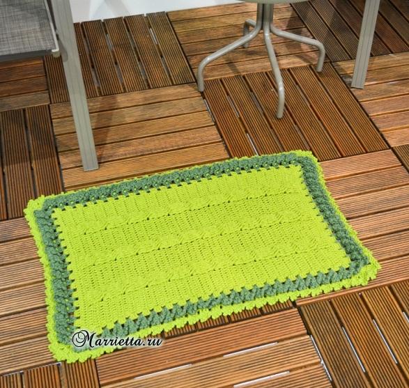 «Зеленая лужайка» - коврик крючком (5) (587x557, 448Kb)