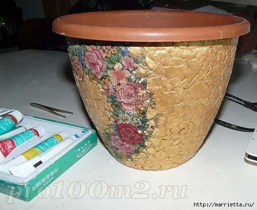 Мозаика из яичной скорлупы. Цветочный горшок (4) (510x418, 124Kb)