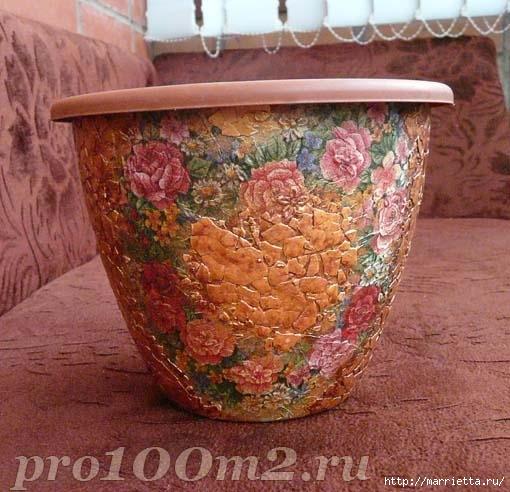 Мозаика из яичной скорлупы. Цветочный горшок (6) (510x492, 166Kb)