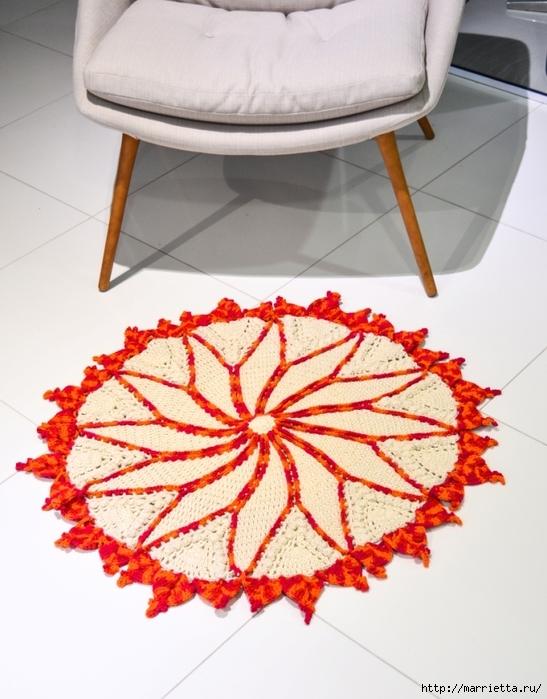 Вязание крючком круглого двухцветного коврика (2) (547x700, 273Kb)