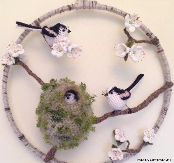 Птичий двор Jose Heroys. Вязаные птички, необыкновенной красоты (15) (597x560, 183Kb)