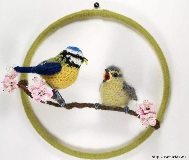 Птичий двор Jose Heroys. Вязаные птички, необыкновенной красоты (29) (640x541, 143Kb)