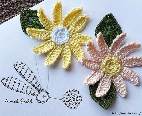 Сервировочная салфетка крючком с цветочками (1) (600x493, 239Kb)
