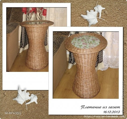 Столик со стеклом из газетных трубочек. ПЛЕТЕНИЕ (1) (512x480, 175Kb)