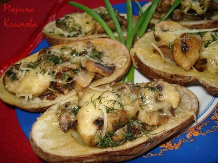 Рецепты запеченной картошки с грибами и сыром
