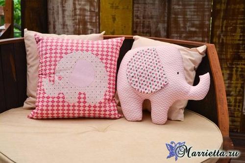 Детская подушка «Слоник». Шьем сами (3) (500x333, 173Kb)