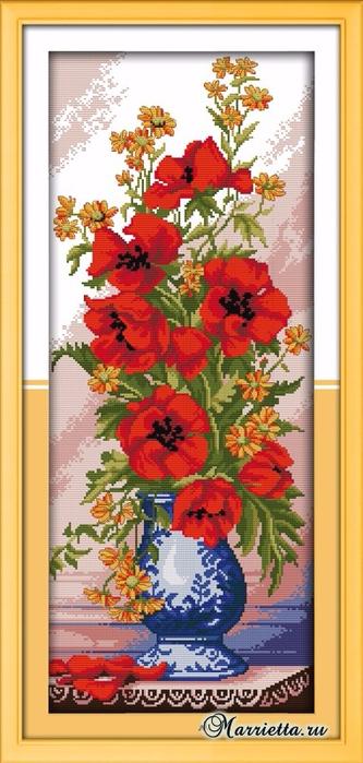 Маки в китайской вазе. Схема вышивки крестом (5) (333x700, 286Kb)