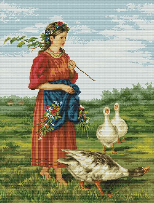 Girl with geese (530x700, 439Kb)
