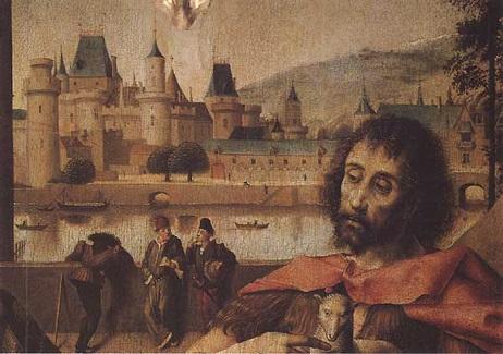 Средневековый Лувр. Фрагмент из ретабло в Парижском парламенте. Середина XV века - время Вийона. (462x325, 70Kb)
