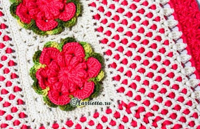 Прямоугольный цветочный коврик крючком. Схема (3) (639x413, 418Kb)