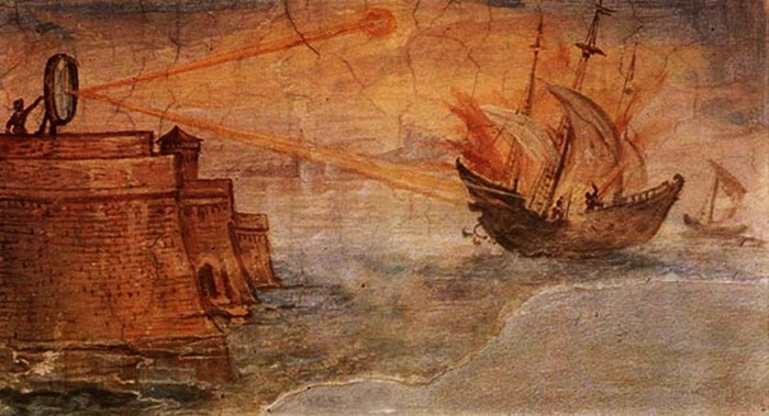 Чем воспользовался Архимед, чтобы поджечь римский флот?