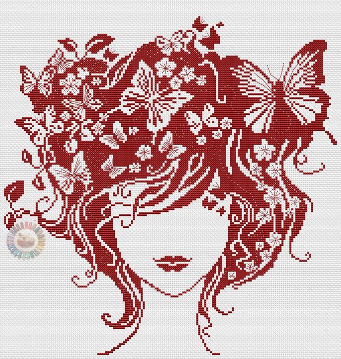 Вышивка схема девушка с бабочками 9