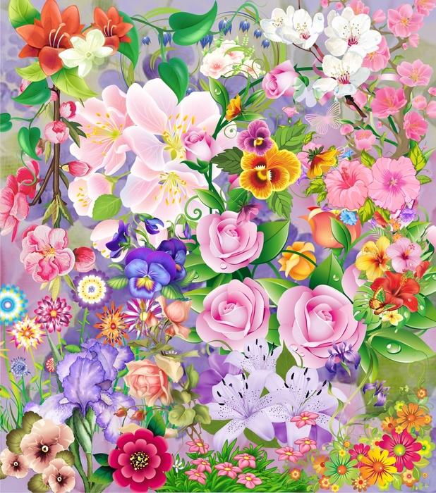 Цветы на прозрачном фоне, 55 png.