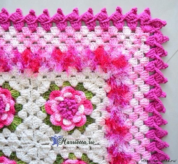 Нежный коврик крючком с цветами. Схема вязания (1) (611x563, 336Kb)