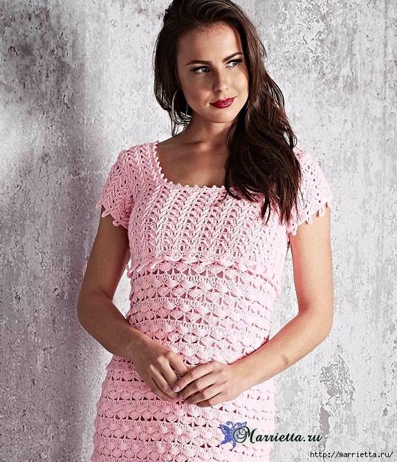 Нежное розовое летнее платье крючком (2) (574x668, 361Kb)