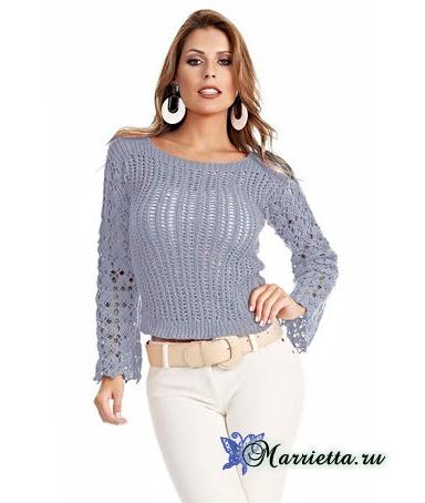 Блуза спицами с ажурными рукавами. Схема (2) (384x454, 102Kb)