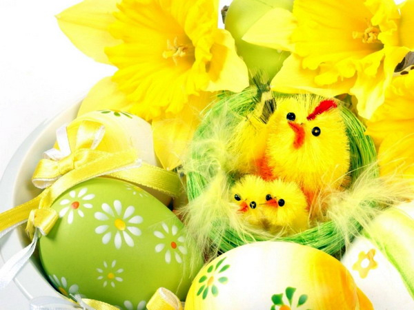 Holidays Easter Yellow chickens for Easter (600x450, 242Kb)