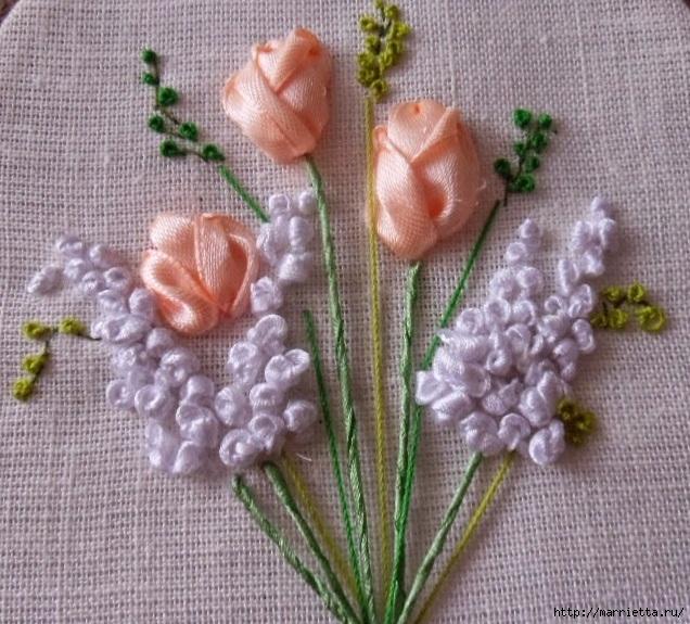 Вышивка лентами «Букет весенних цветов» (20) (636x575, 295Kb)