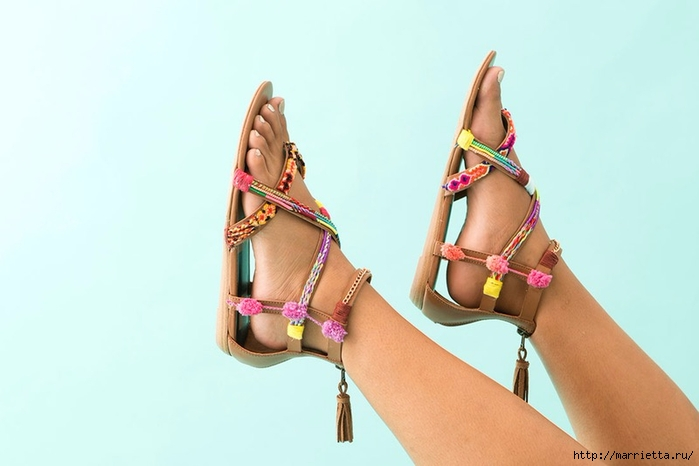 Обувь в стиле бохо. Переделка босоножек своими руками (1) (700x466, 130Kb)