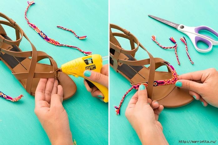 Обувь в стиле бохо. Переделка босоножек своими руками (3) (700x466, 263Kb)
