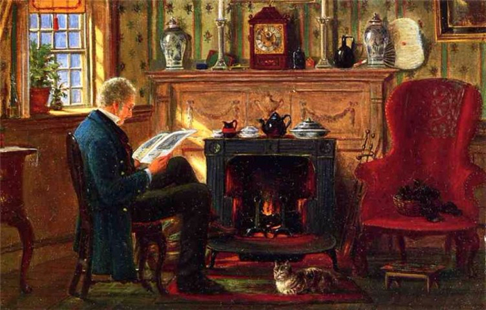 1 Edward Lamson Henry Examining Illustrations by the Fire 1872 г (700x447, 366Kb)
