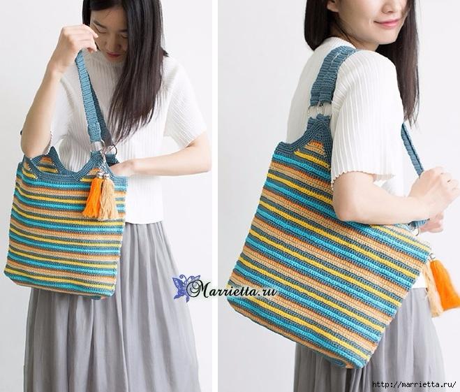 Летняя сумка-мешок крючком. Схемы вязания (5) (659x561, 255Kb)
