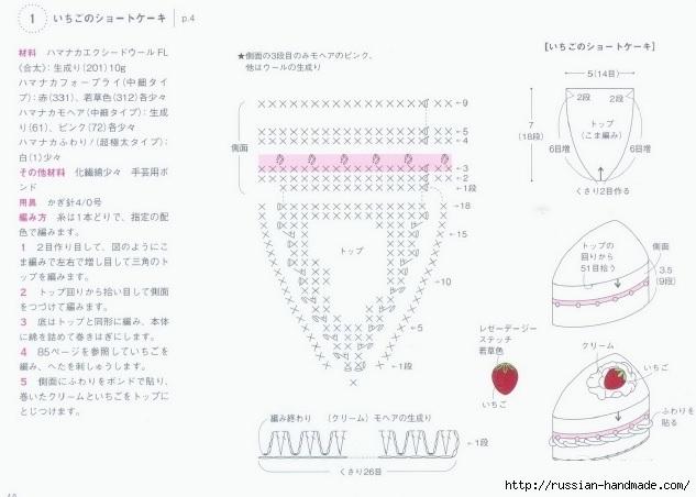 Вязаные крючком пирожные. Схемы вязания (3) (633x452, 129Kb)