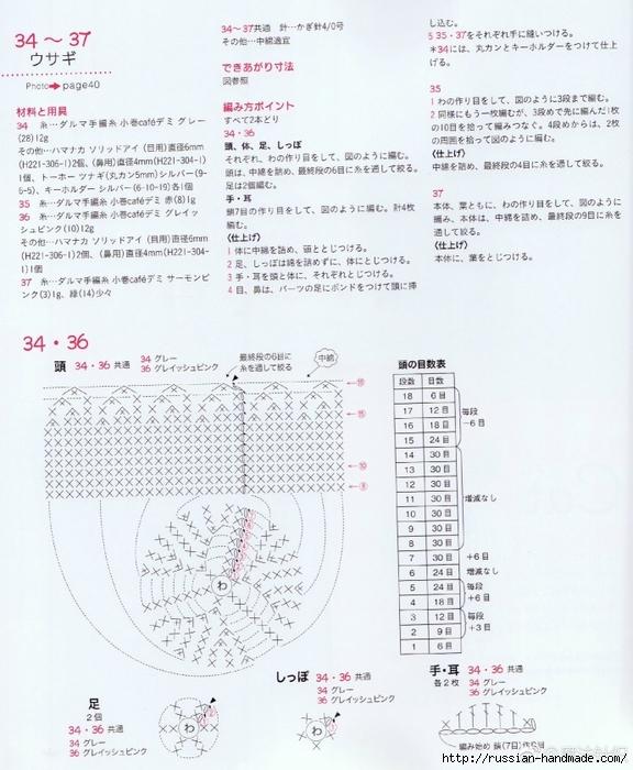 Амигуруми. Схемы вязания белого медведя, кроликов и котят (6) (576x700, 292Kb)
