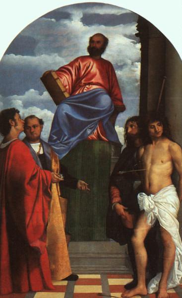 11 Тициан Св марк в окружении св-х Косьмы, Роха и Себастьяна (367x600, 188Kb)