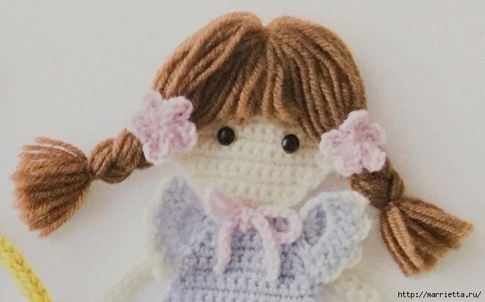 Куколка с косичками - аппликация крючком для детского платья (1) (700x436, 196Kb)