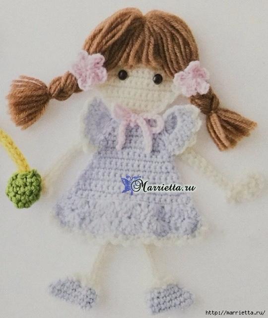 Куколка с косичками - аппликация крючком для детского платья (2) (540x641, 190Kb)