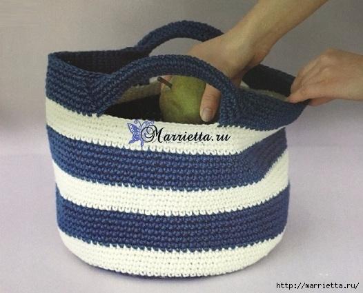 Летняя сумочка с ручками. Схема вязания крючком (2) (526x425, 150Kb)