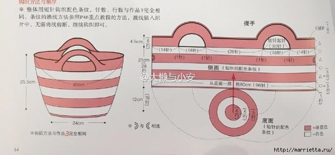 Летняя сумочка с ручками. Схема вязания крючком (4) (690x320, 132Kb)