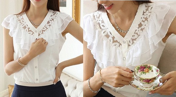 Блузки с кружевным шитьем