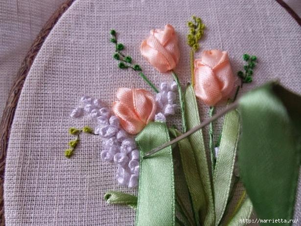 Вышивка лентами «Букет весенних цветов» (24) (615x461, 246Kb)
