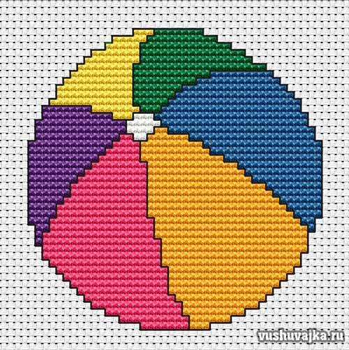 вышивка крестом для начинающих/1495290325_myachik1 (500x501, 68Kb)