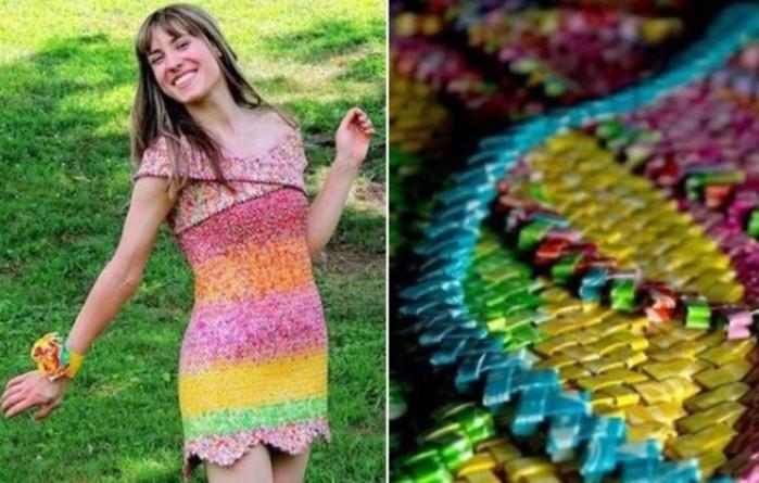 Платье из 10 тысяч фантиков сделала девушка-дизайнер