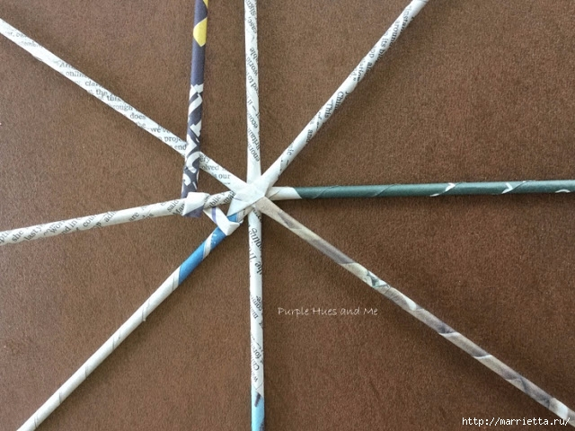 Плетение из газет корзинки-паутинки. Фото мастер-класс (8) (640x480, 227Kb)
