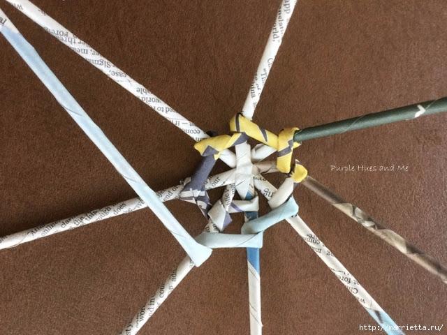 Плетение из газет корзинки-паутинки. Фото мастер-класс (10) (640x480, 225Kb)