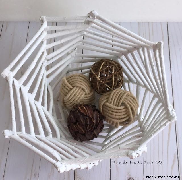 Плетение из газет корзинки-паутинки. Фото мастер-класс (20) (640x633, 238Kb)