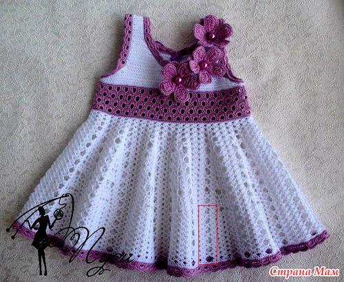 Вязаные платья крючком для малышей со схемой