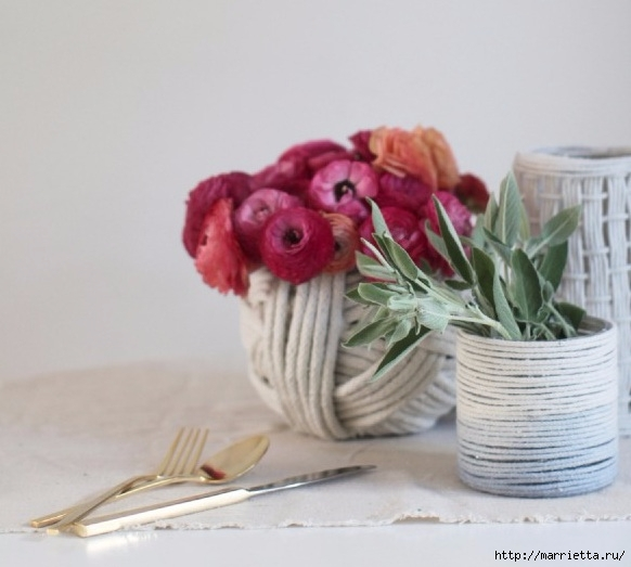 Стильные вазы из бельевой веревки (1) (582x523, 133Kb)