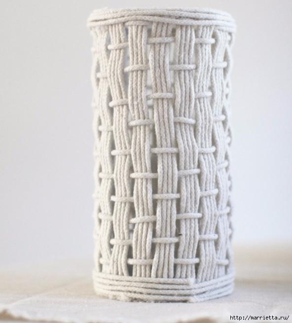Стильные вазы из бельевой веревки (6) (592x655, 174Kb)