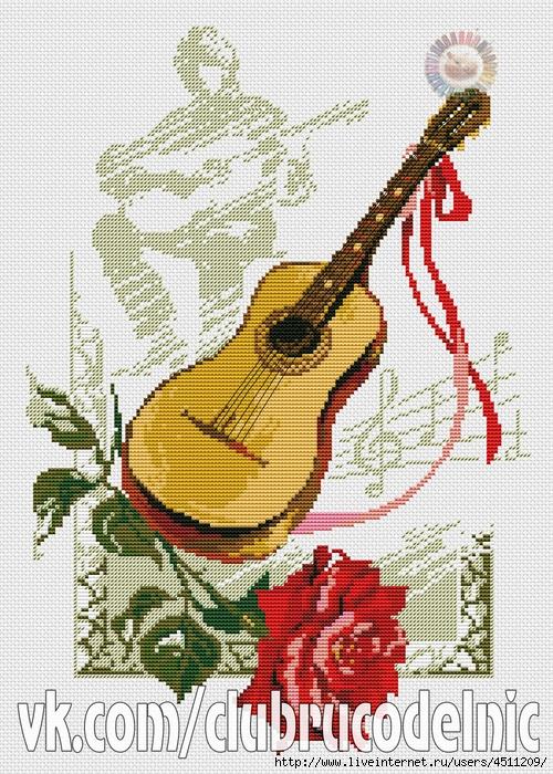 Гитара с розой (500x700, 407Kb)