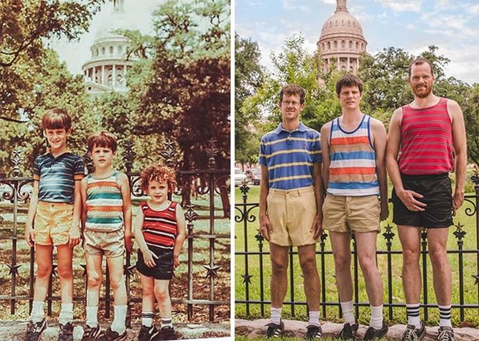 Воспроизведение детских фотографий на пародийных снимках через много лет